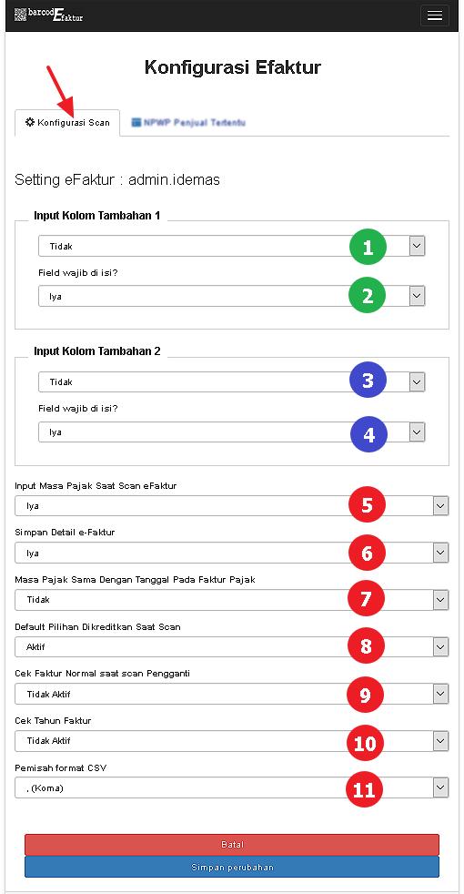 Tampilan halaman Konfigurasi Scan