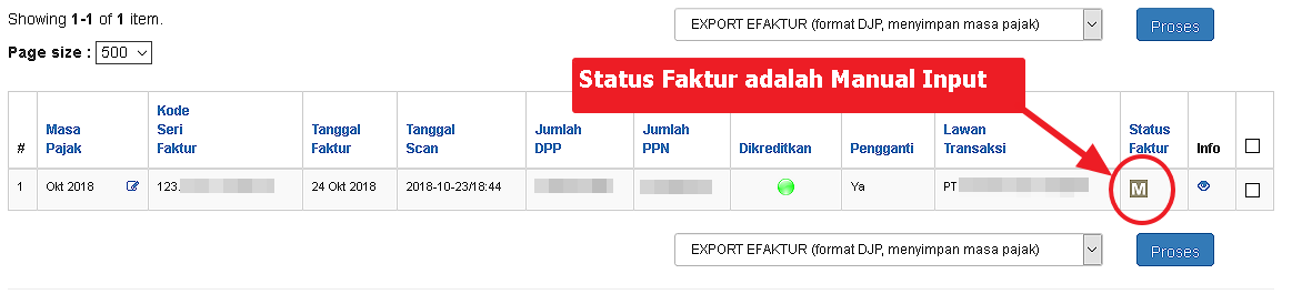 Status Manual Input pada eFaktur Export