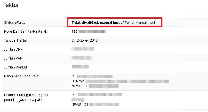 Tampilan Detail Faktur Manual Input