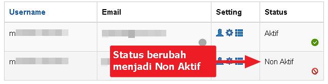 Ikon Status Member berubah menjadi Non-Aktif