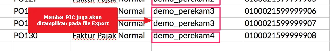 Data Perekam/Member juga dicantumkan pada file Hasil Export