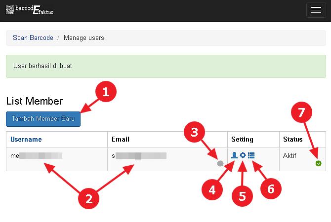 Tampilan halaman Manage Users