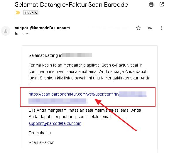 Tampilan Email Link Verifikasi Pendaftaran Member