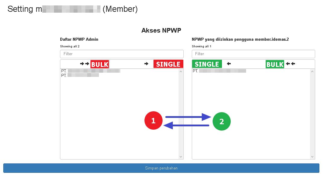 Tampilan halaman Setting Akses NPWP Member