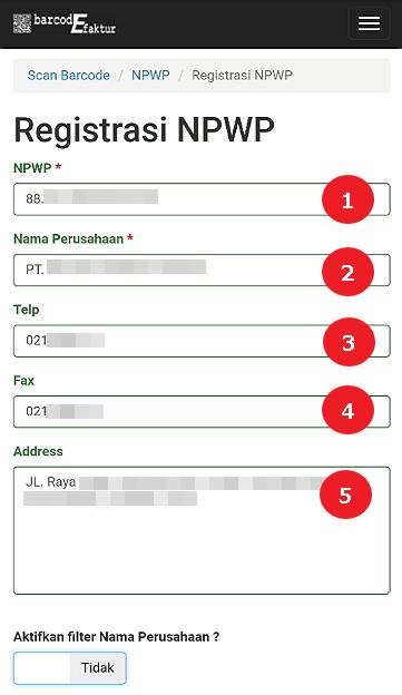Silahkan isi data NPWP Perusahaan
