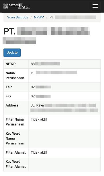 Tampilan detail informasi NPWP