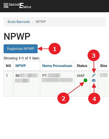 Tampilan halaman Daftar NPWP