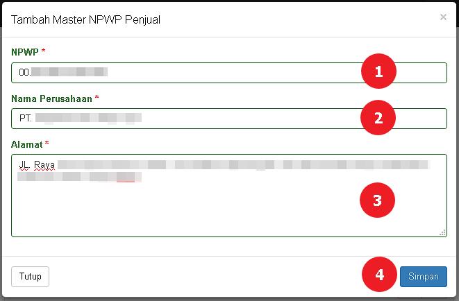 Tampilan halaman Tambah NPWP Penjual
