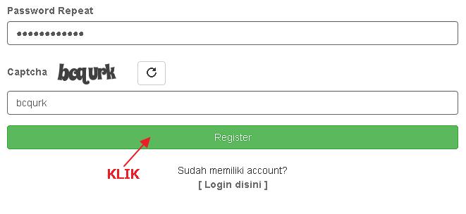 Silahkan Klik Register untuk melanjutkan Registrasi Akun.
