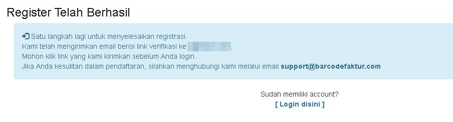 Pesan Registrasi berhasil.