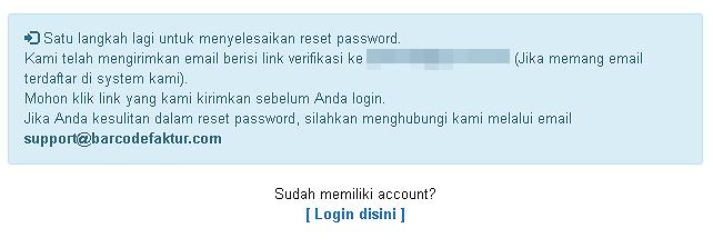 Tampilan Pesan Sukses Meminta Reset Password