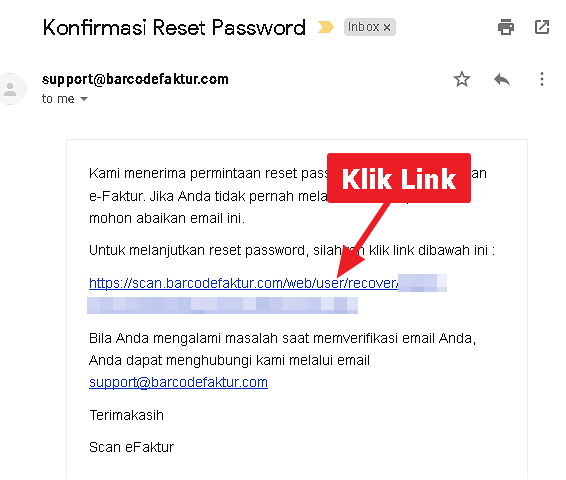 Tampilan Email Link Verifikasi