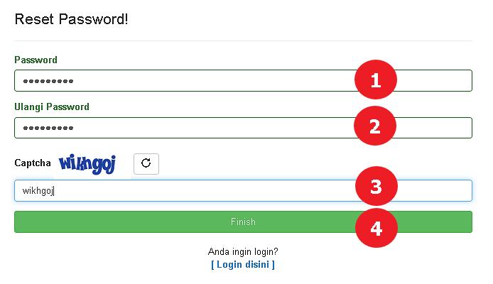 Tampilan Form Reset Password