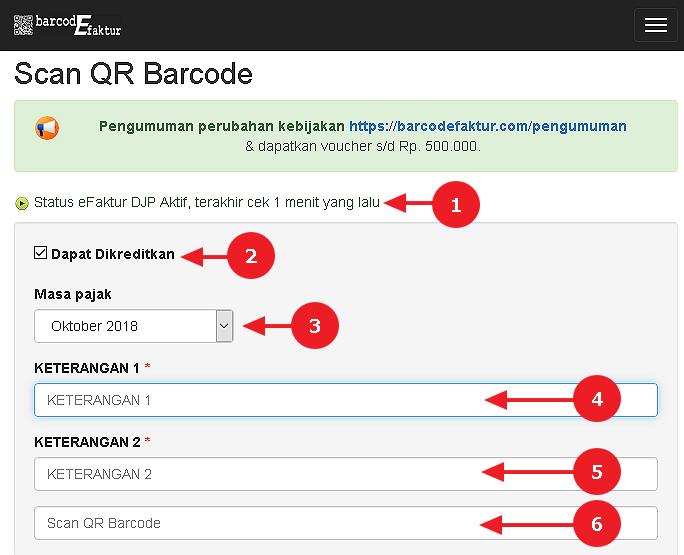 Tampilan halaman Scan QR Barcode 1
