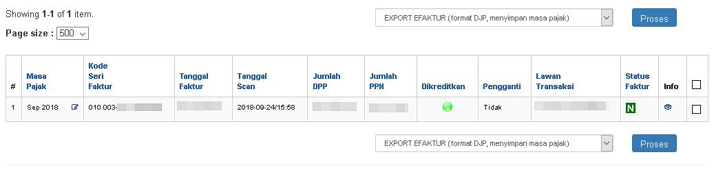 Tampilan faktur yang berhasil tersimpan pada halaman eFaktur Export