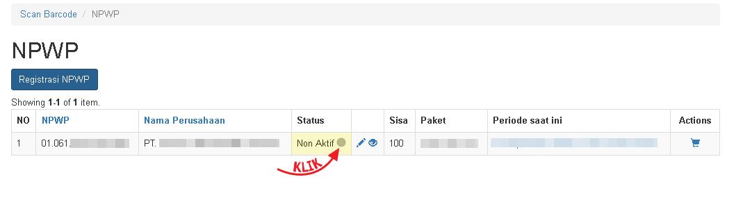 Silahkan klik Status untuk ubah status NPWP