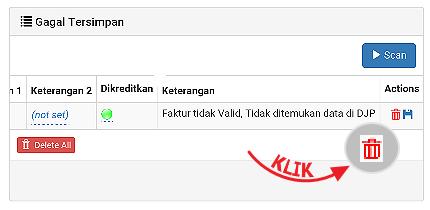 Silahkan pilih Hapus untuk hapus Faktur tidak valid